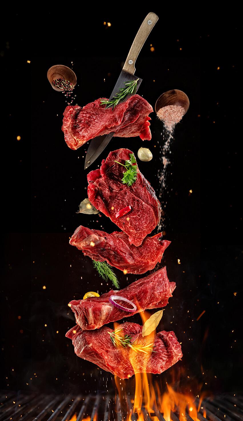Reepjes steak op spies